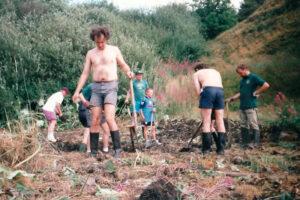 1996: Seven Acres, pond digging.